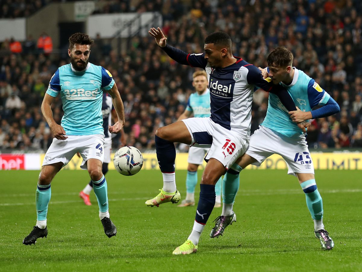 Karlan Grant of West Bromwich Albion and Dylan Williams of Derby County (Photo: WBA/Adam Fradgley)