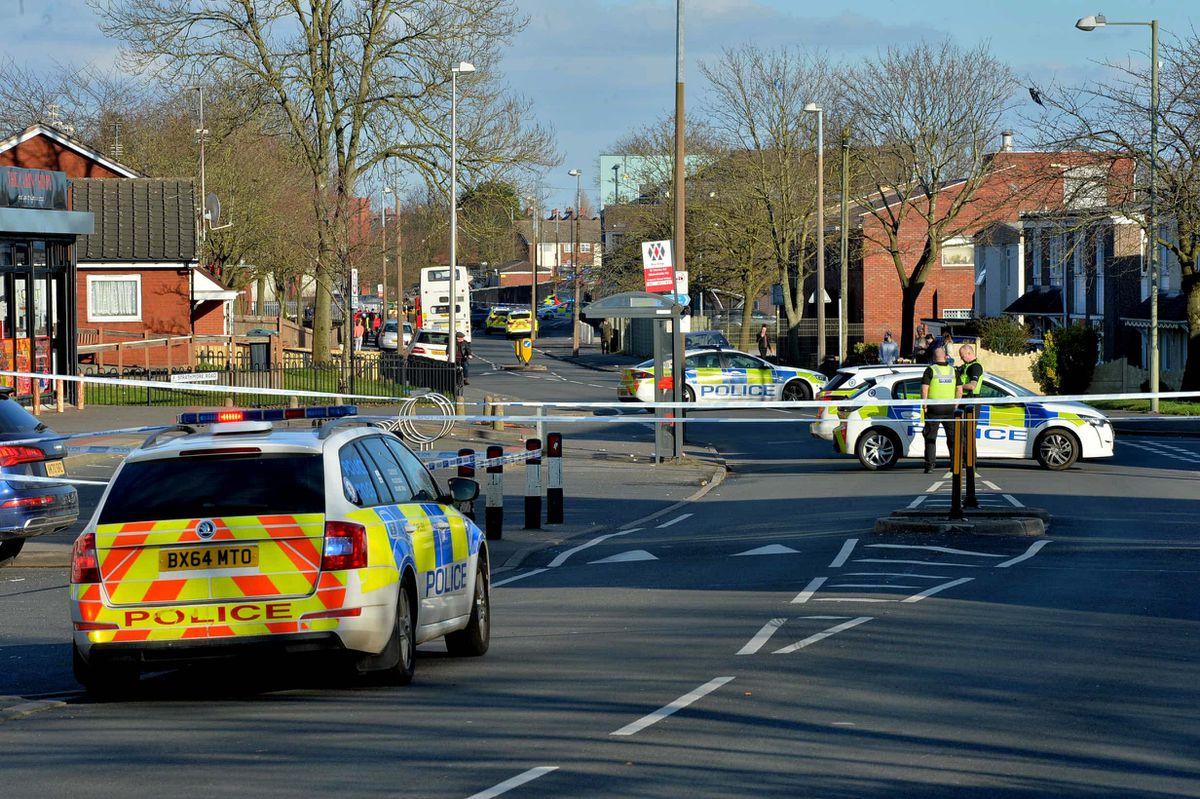 Police at the scene in Tipton