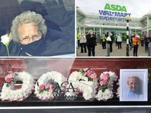 Tributes were paid to Doris Hobday at Asda. Her twin sister Lil, pictured top left, waved to well-wishers.