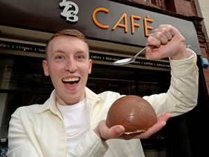 Josh Allen, from Little Dessert Shop, Wolverhampton, can't wait to smash up the chocolate smash football, which the shop are now selling to commemorate the Euros. ...