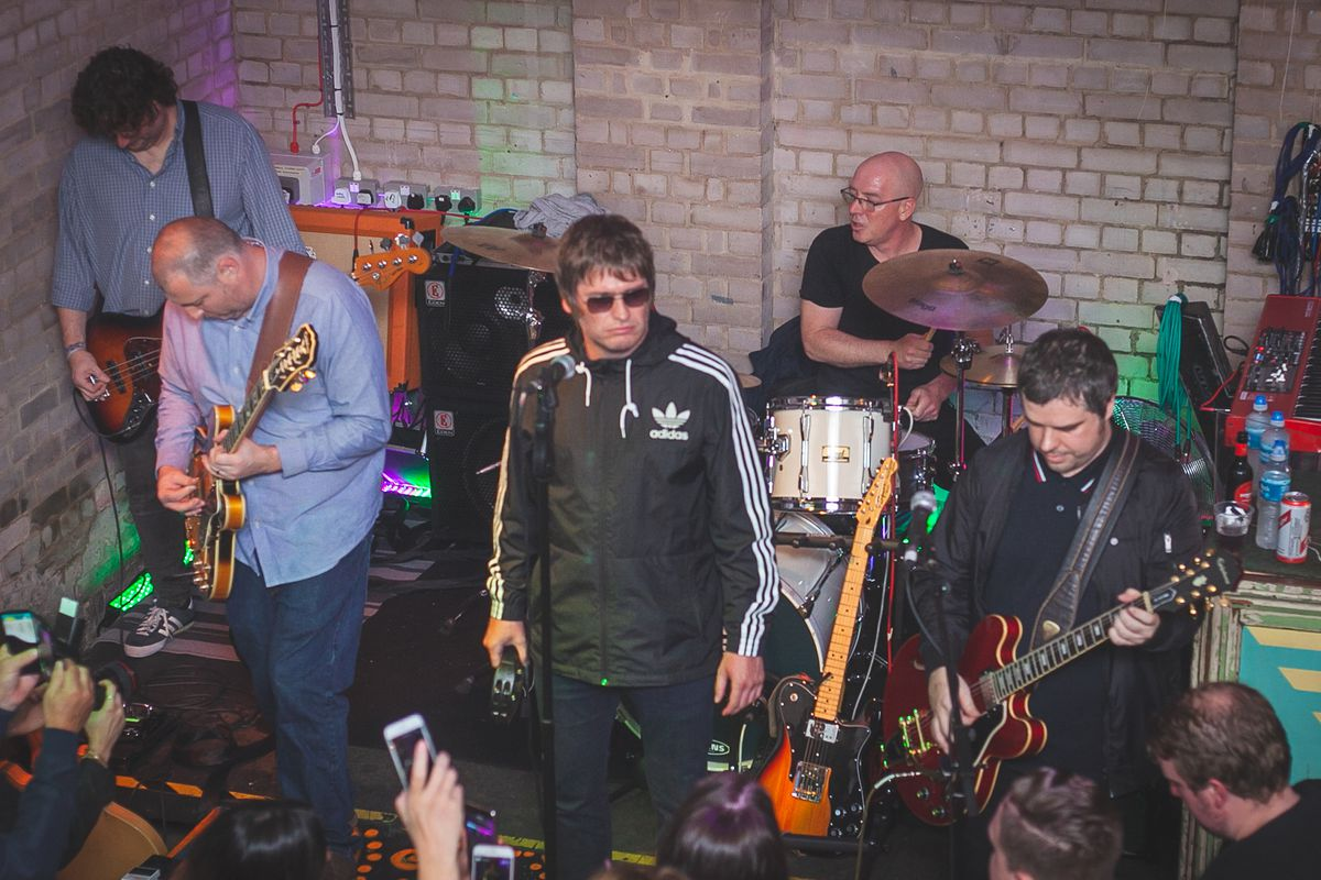Oasis Maybe perform at The Night Owl in Birmingham, with former Oasis drummer Tony McCaroll on the drums at the back   Photo: Andrew Roberts Photography