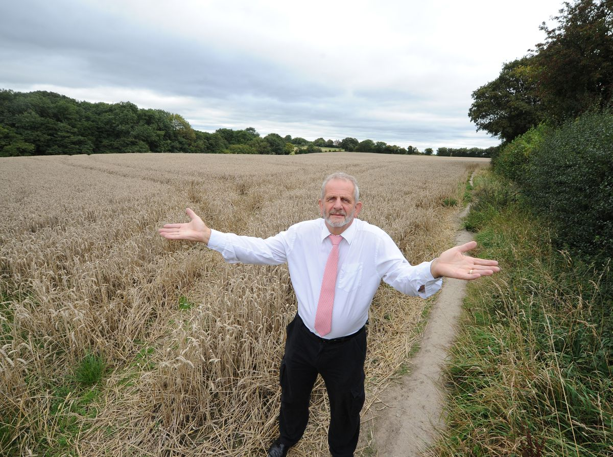 Campaigner Tony North, pictured at the Seven Cornfields site, is against the plans