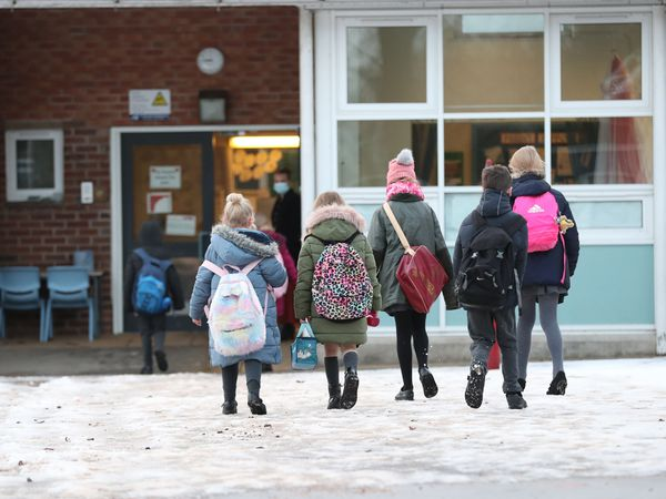 Pupils arriving at Manor Park School and Nursery in Knutsford, Cheshire (Martin Rickett/PA)