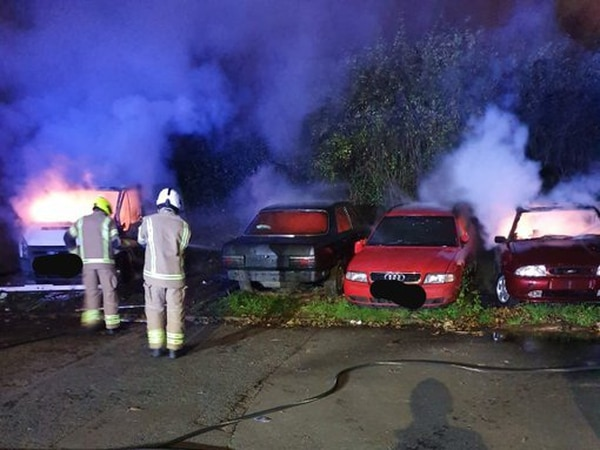 Arson attack on four vehicles parked in West Bromwich