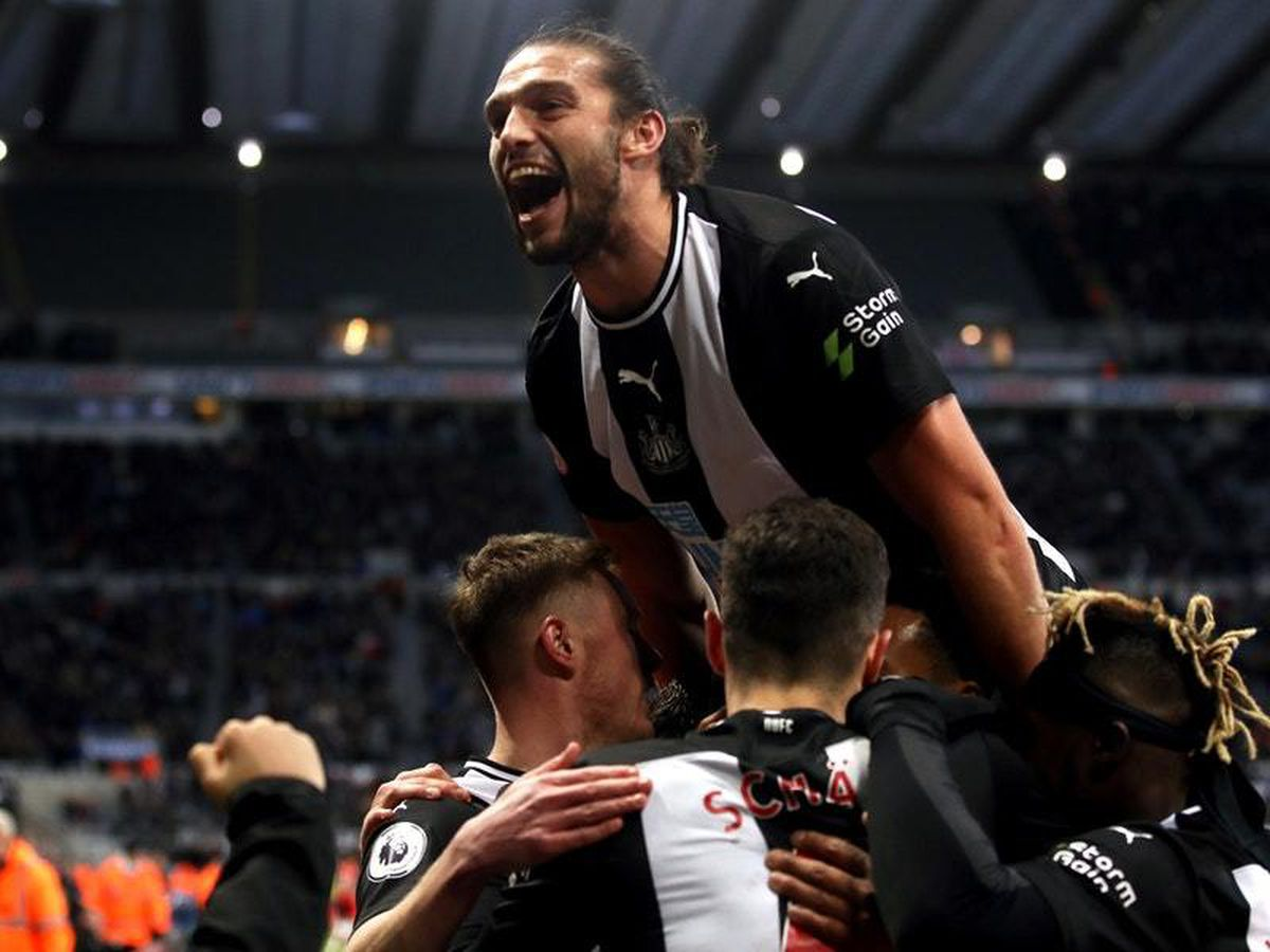 Newcastle's Andy Carroll celebrates with his team-mates after Federico Fernandez's late winner against Southampton