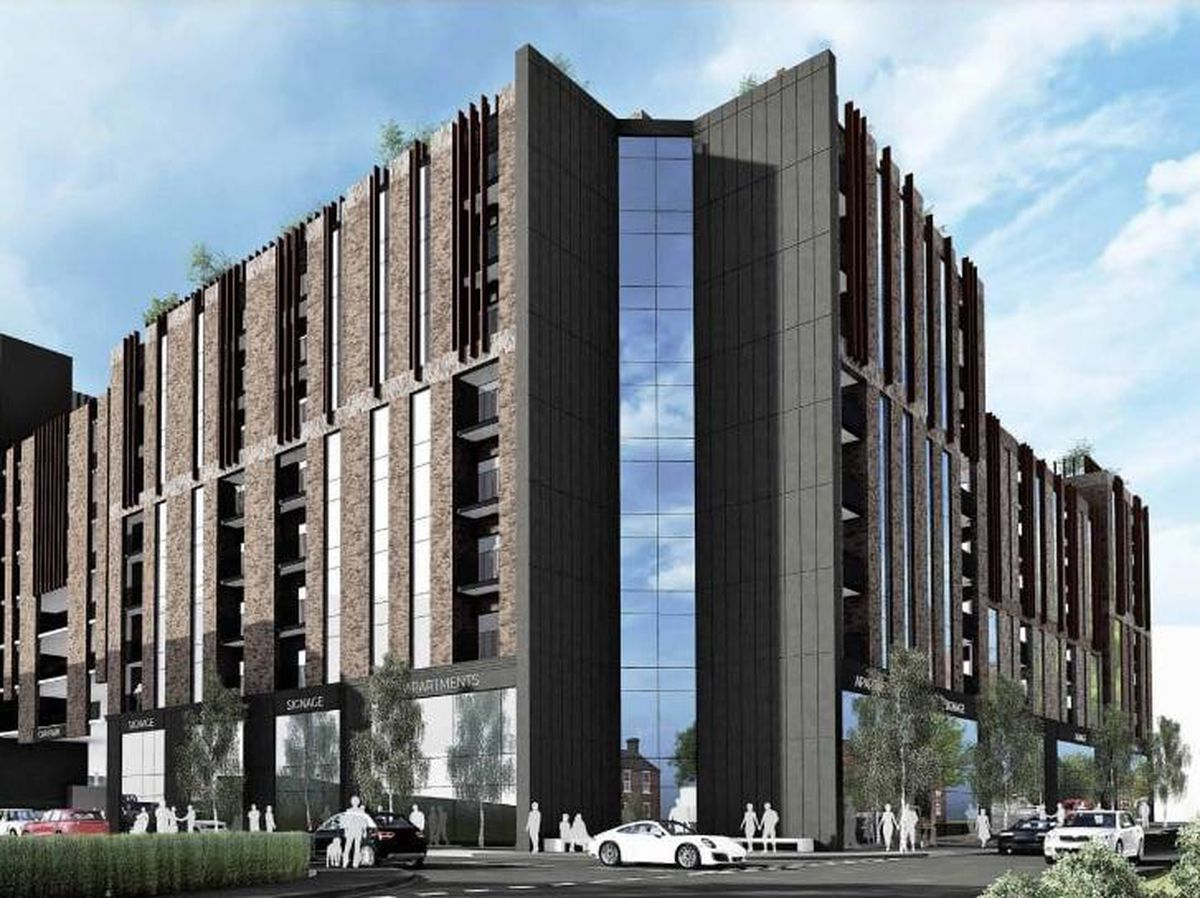 An artist's impression of a huge multi-storey car park and residential and commercial development in London Street, Smethwick. Photo: Four Architects