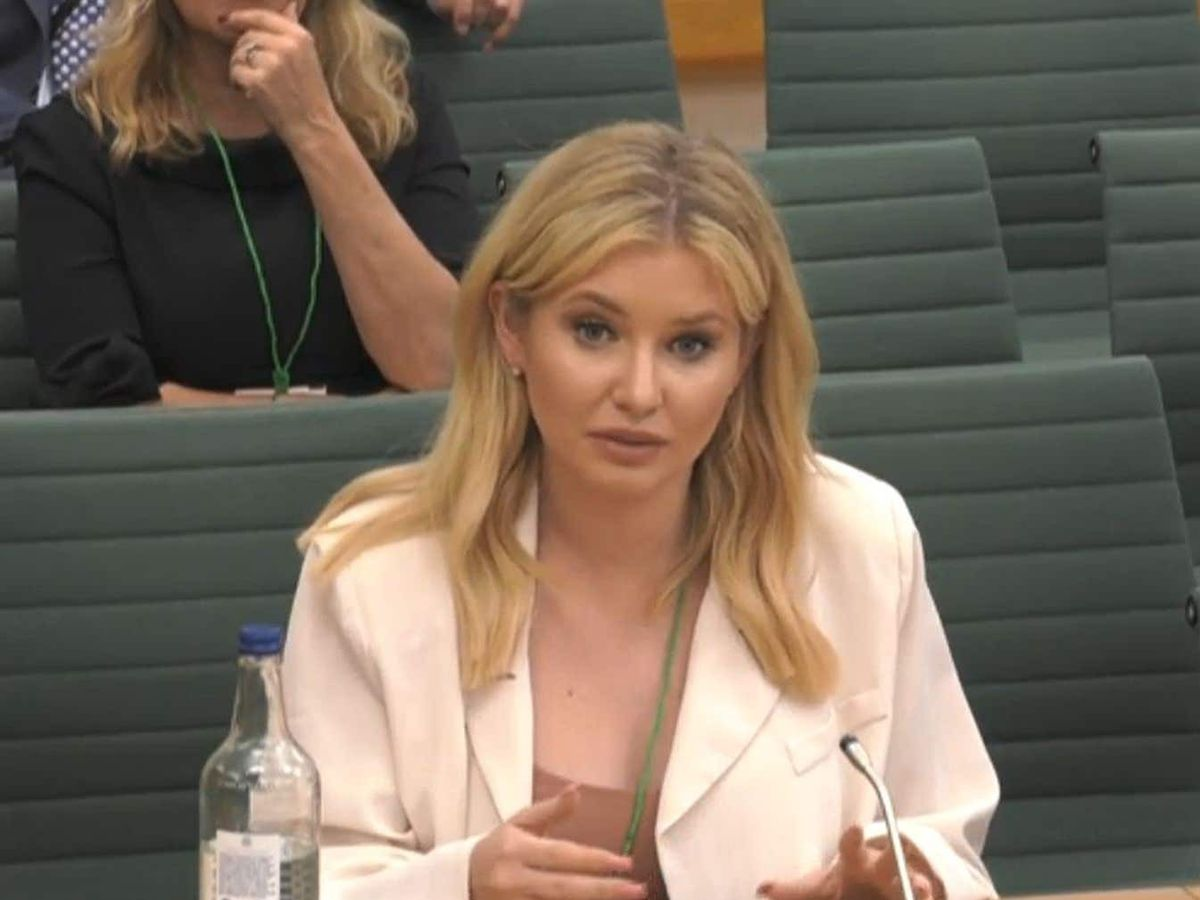 Former Love Island contest Amy Hart speaking at the inquiry