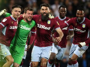 """Aston Villa's Jack Grealish (left), Jed Steer and Mile Jedinak celebrate victory during the Sky Bet Championship, Play-Off, Second Leg match at The Hawthorns, West Bromwich. PRESS ASSOCIATION Photo. Picture date: Tuesday May 14, 2019. See PA story West Brom. Photo credit should read: Nick Potts/PA Wire. RESTRICTIONS: EDITORIAL USE ONLY No use with unauthorised audio, video, data, fixture lists, club/league logos or """"live"""" services. Online in-match use limited to 120 images, no video emulation. No use in betting, games or single club/league/player publications.."""