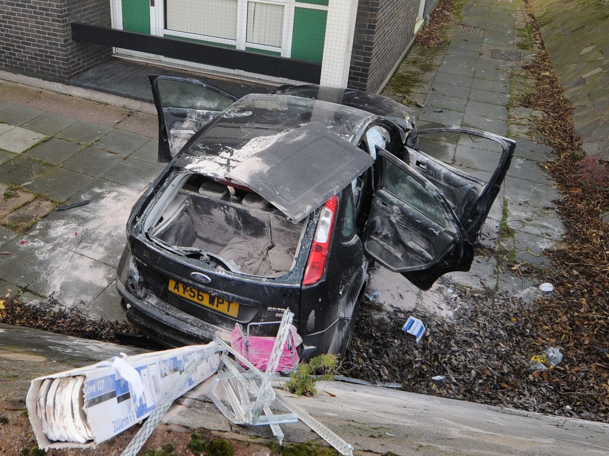 The aftermath of a crash off Stafford Street in Wolverhampton