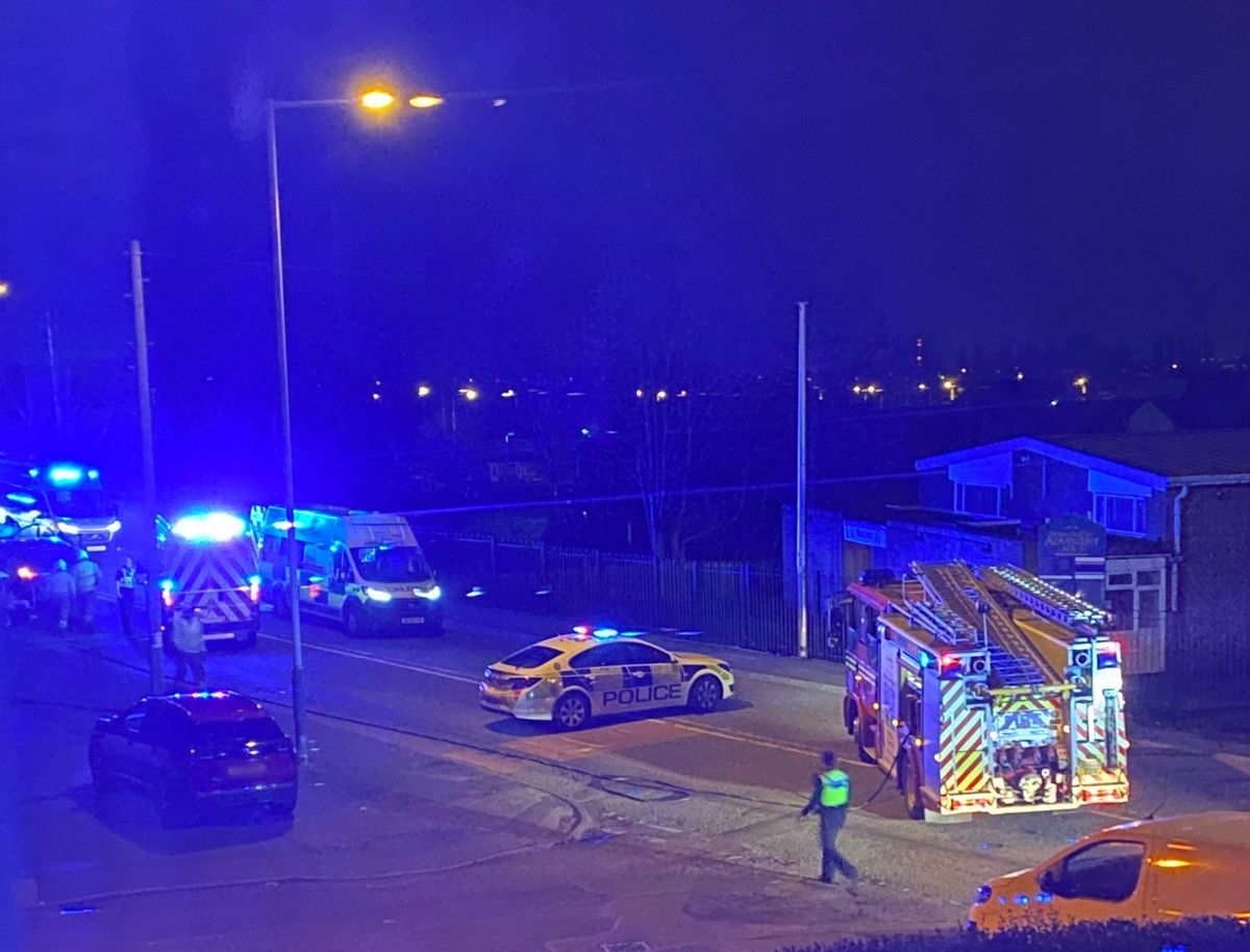Emergency services at the scene of the crash in Lichfield Road