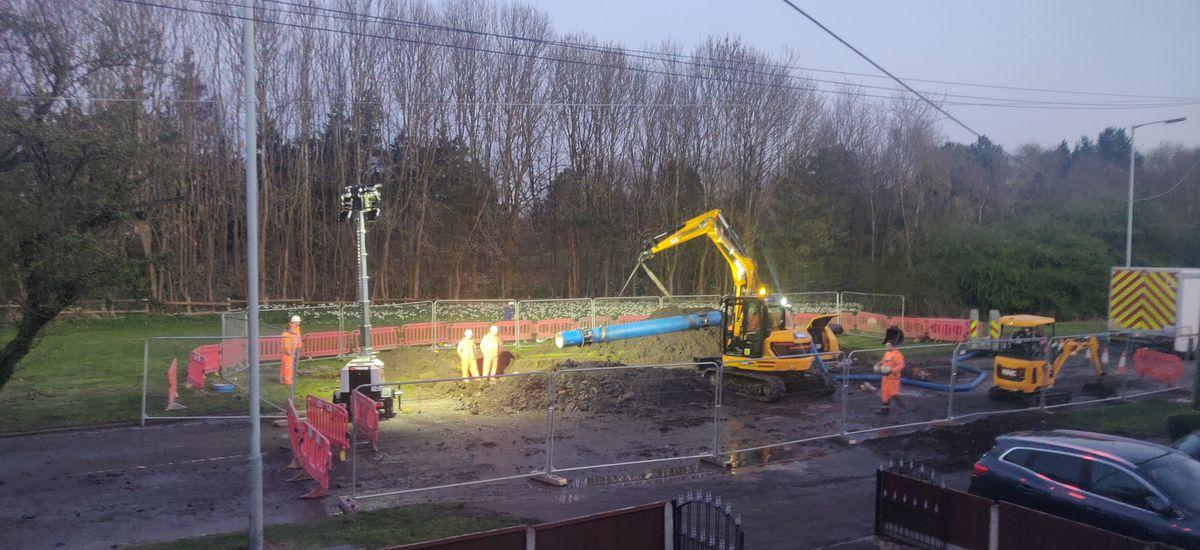 Severn Trent repairing the broken pipe. Photo: R Chandard