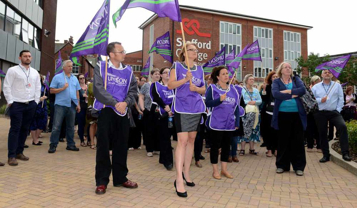 The protest outside Stafford College in June