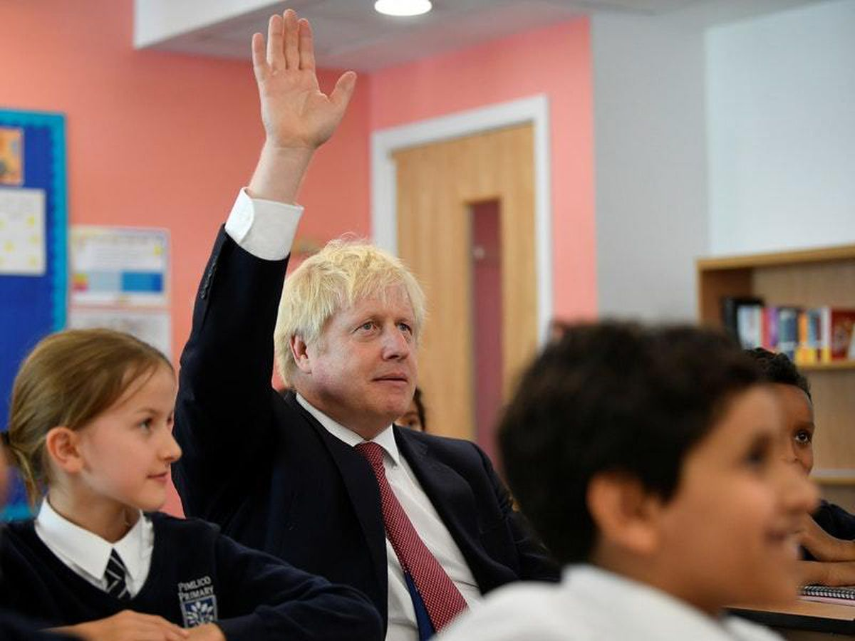 Boris Johnson attends a history lesson at Pimlico Primary School in south-west London