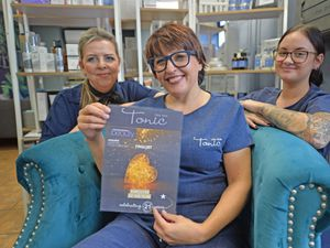 CANNOCK  COPYRIGHT TIM STURGESS EXPRESS AND STAR......07/10/2021  Julia Ball, owner of the Tonic day spar in Heath Hayes  has been nominated for the Employer of the year in the Professional Beauty awards. Pictured with staff , left, Lisa Chard and Ellie Smith..