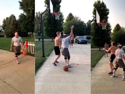 A grandfather showed a whippersnapper who's boss in this epic basketball move