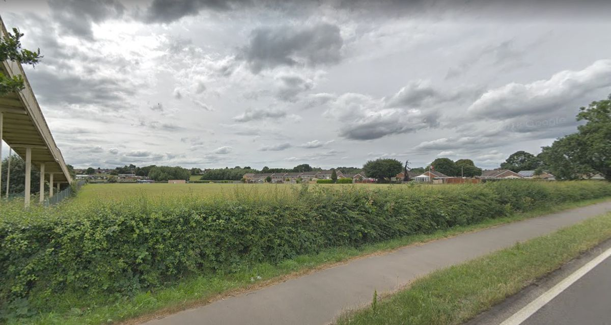 A Google Street View of the Tilling Drive playing field area as seen from The Fillybrooks Stone Staffordshire. A third of the space closest to The Fillybrooks is earmarked for the care home plan