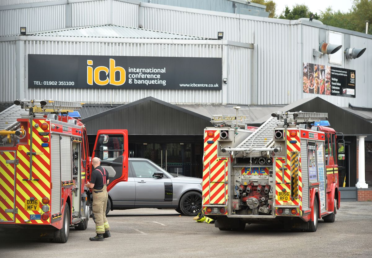 Fire crews remained at the scene on Monday