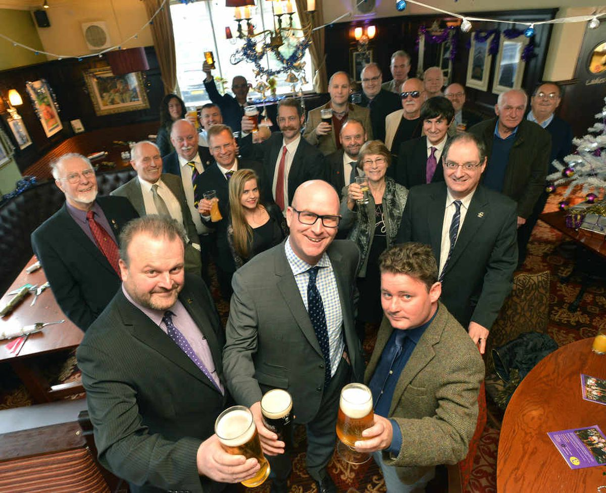 Deputy Leader Paul Nuttall, (right) with Save the pub co-ordinator Martin Day, and (left) Craig Winyard, Press Officer to Bill Etheridge MEP along with guests at the Seven Stars pub