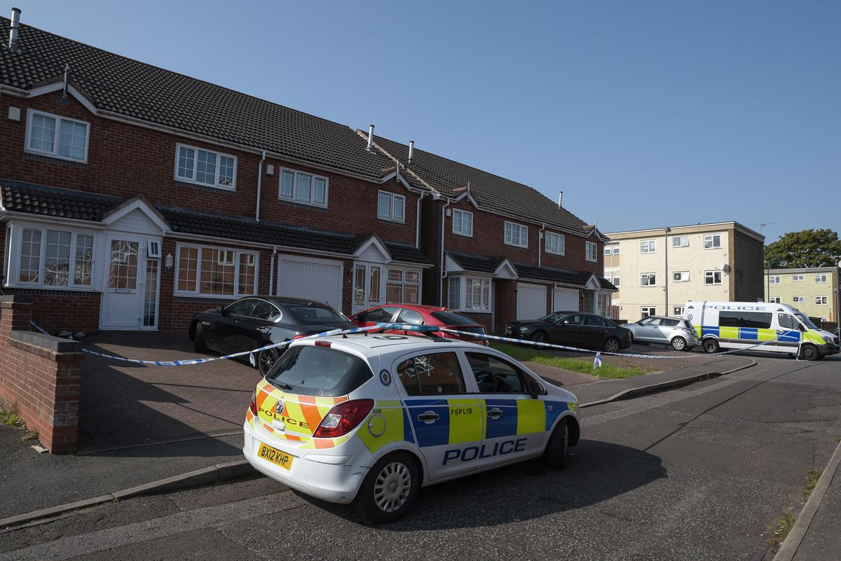 Police at the scene in Kempsey Close, Oldbury. Photo: SnapperSK