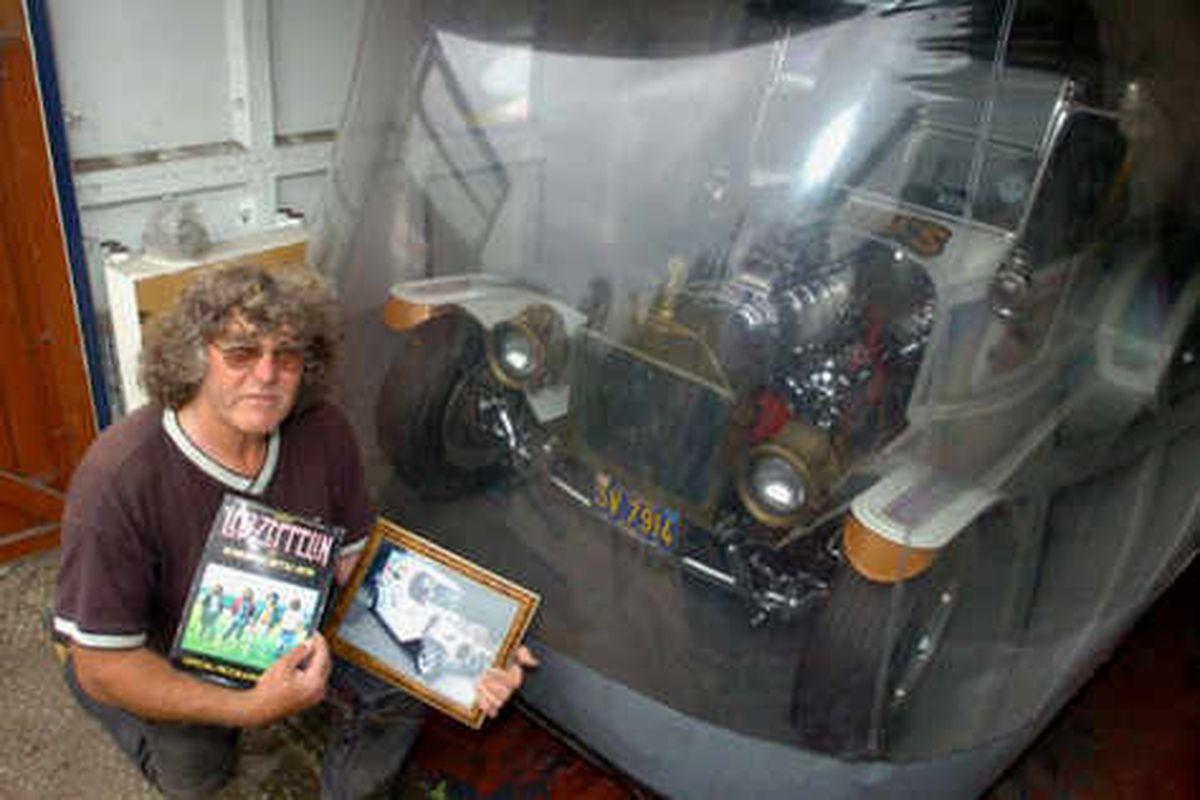 Bruce drumming up interest in Led Zeppelin drummer John Bonham's old car