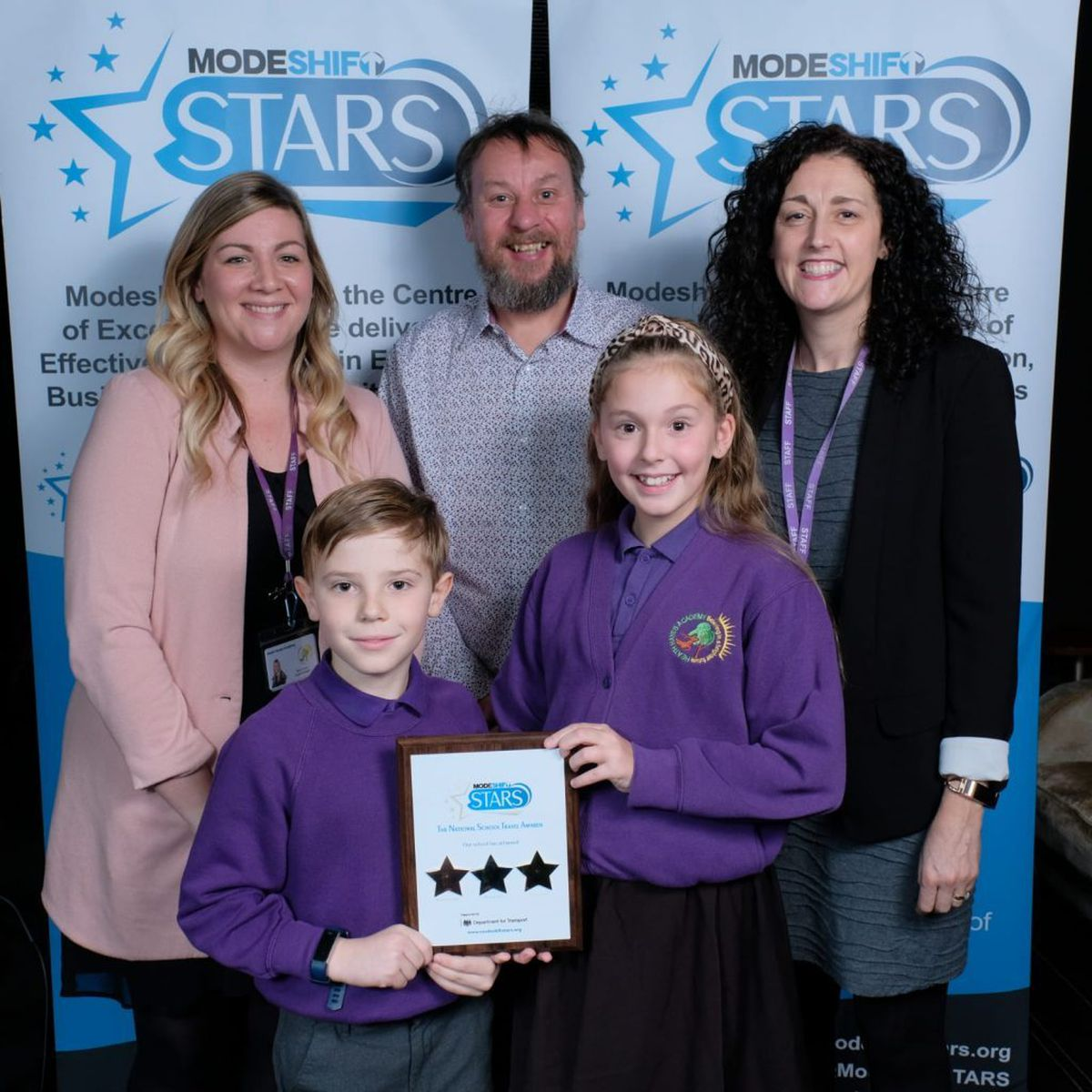Active Travel Ambassadors and School Travel Plan Champions from Heath Hayes Academy receive their GOLD award with Ryan Procter from Staffordshire County Council.