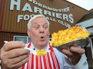KIDDERMINSTER COPYRIGHT EXPRESS&STAR TIM THURSFIELD 15/10/14 Brian Murdoch, from the Red Lion Hotel, Kidderminster, with his award winning pie, which he sells at the Harriers ground.                                                                                                                                                                                                               .