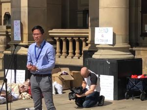 Councillor Alex Yip at the SEND protest last week