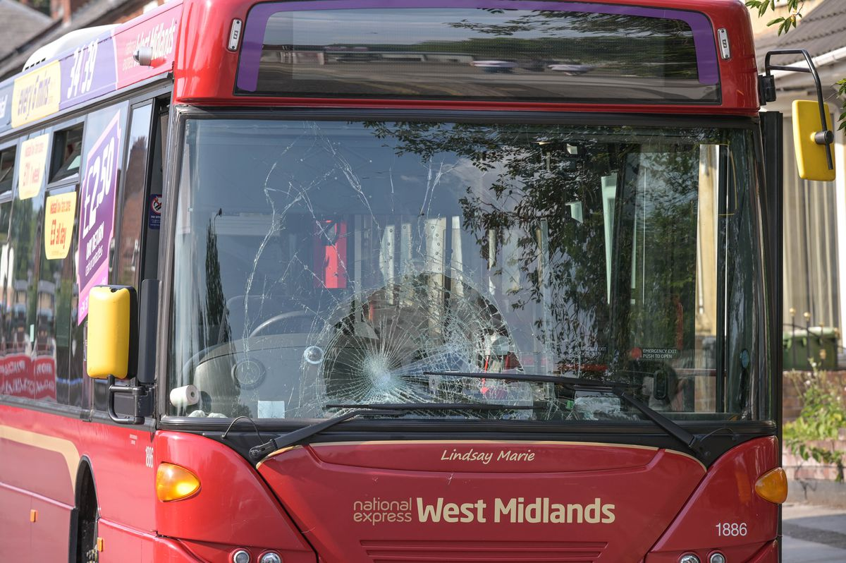 The smashed windscreen on the bus. Photo: SnapperSK