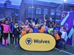 Wolves stars join young football fans on the pitch