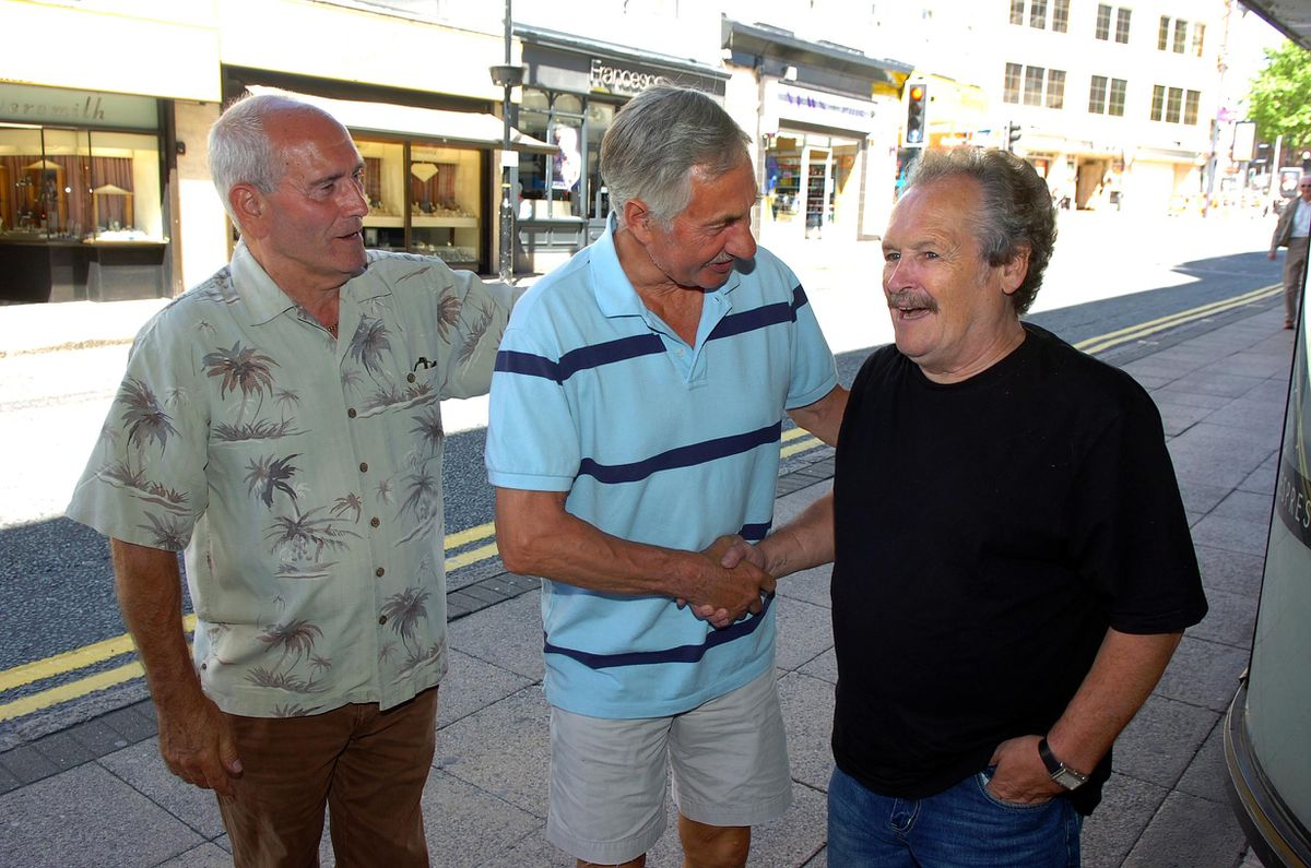 Bobby Ball and Tommy Cannon meeting shoppers in Wolverhampton while performing at the Grand Theatre in 2008