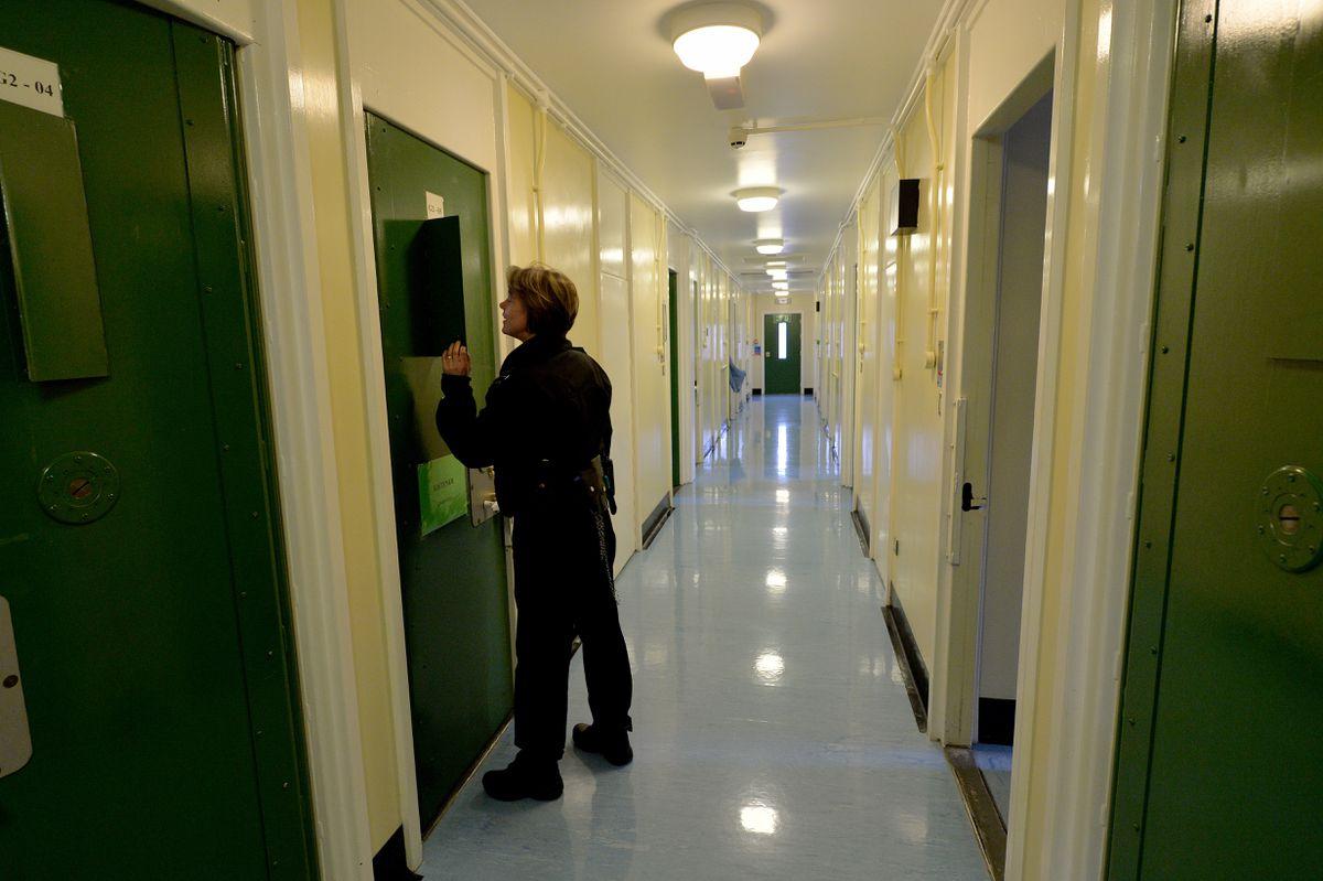 A corridor inside the prison