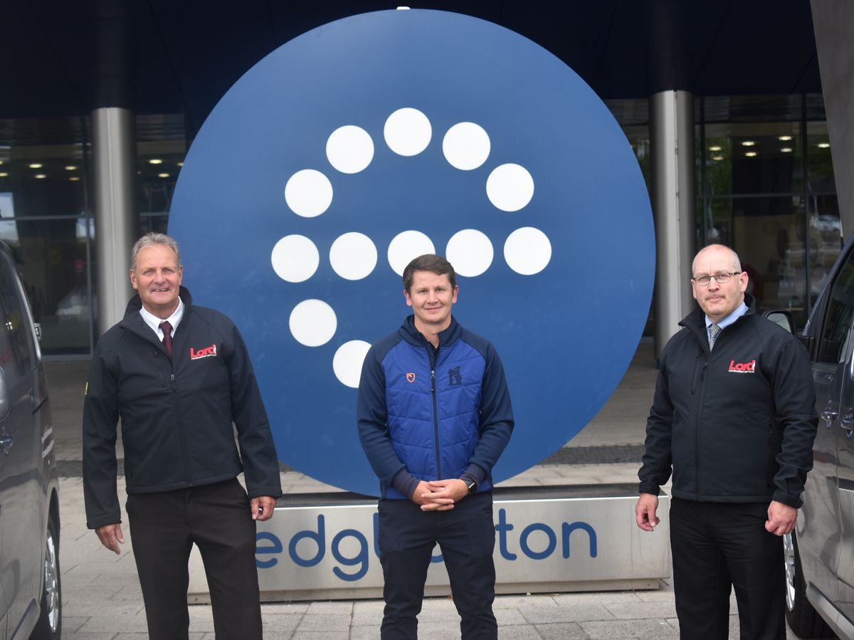 Lord Combustion Services director Mark Chapman, Scott Elstone of Edgbaston Commercial Partnerships and Lord MD Stuart Smith