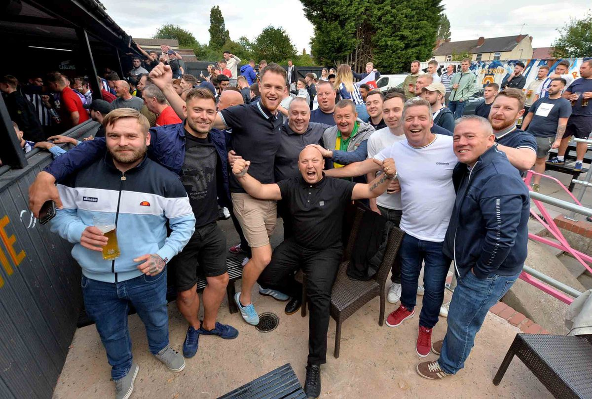 Albion fans at The Sportsman pub in West Bromwich