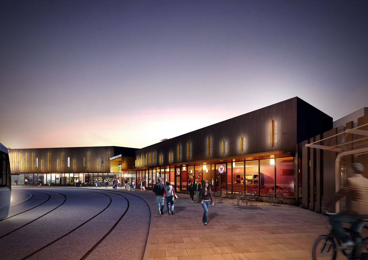 A CGI of the what the completed station building will look like after phase 2