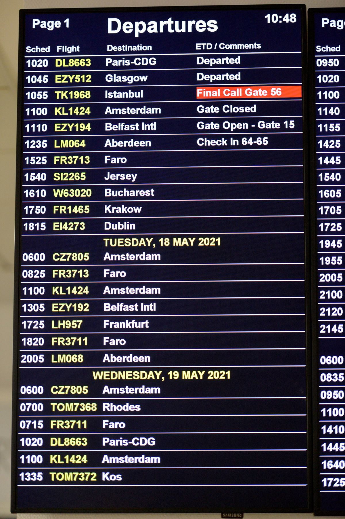 A list of the departures from Birmingham Airport