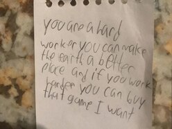 This little boy left his dad a sweet note that has a hilarious twist