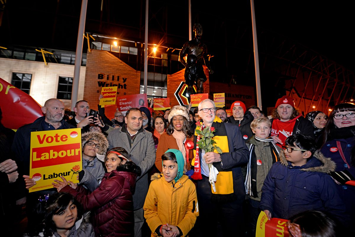 Labour supporters turned out to greet Mr Corbyn next to the Billy Wright statue