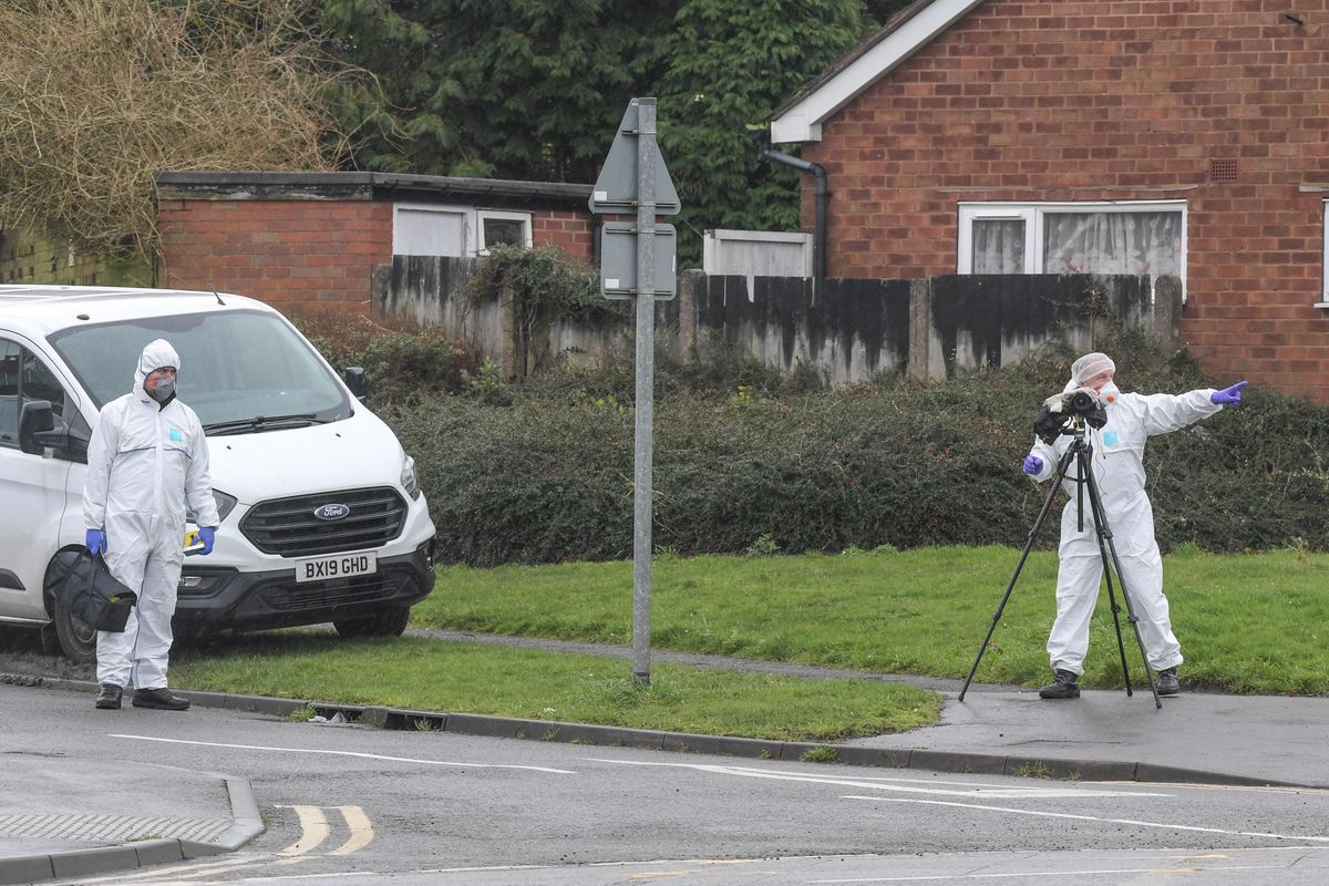 Police at the scene off Pensnett Road in Brierley Hill. Photo: SnapperSK
