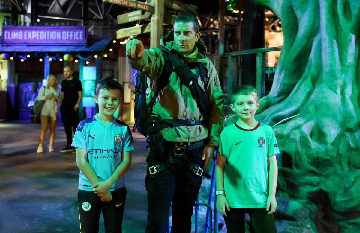 Bear Grylls surprises guests by pretending to be a wax figure
