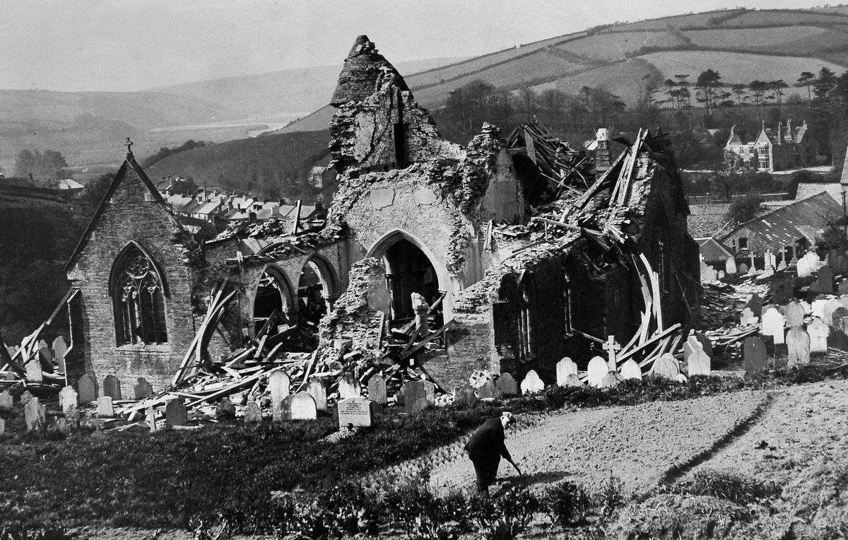 A 1943 raid destroyed the medieval Devon church of Aveton Gifford and the rectory, seen in the distance in the background.