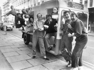 Milkman David Davies joins in the fun with visiting actors from the Grand in 1985