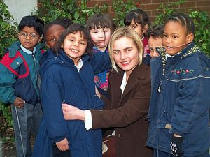 Lisa got a warm welcome from pupils on her return to the school, including from Rhena Chopra and Francesca Quintyne