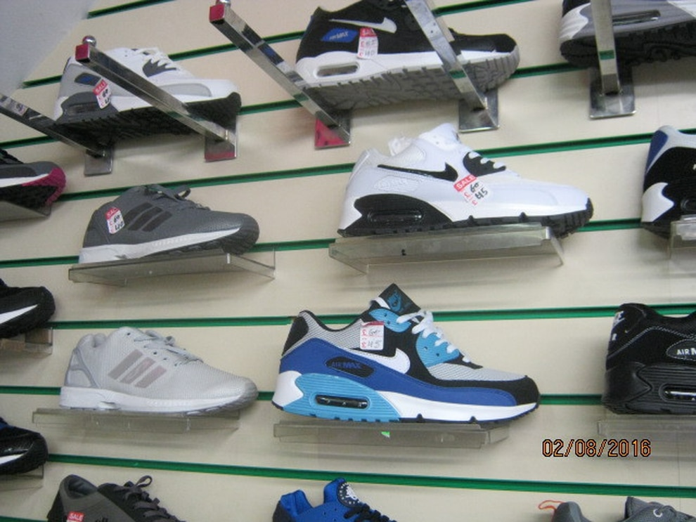 Some of the counterfeit trainers on display at the shop