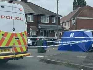 Police at the scene in Vicarage Road, in Oldbury
