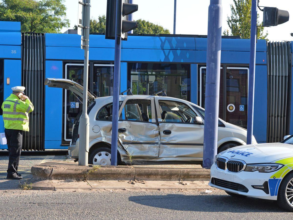 The crash involved a tram and car