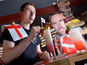 Nat Drew tries a Kane Colada at The Cock 'n' Bull bar ahead of England's crunch semi-final against Denmark in the Euros tonight