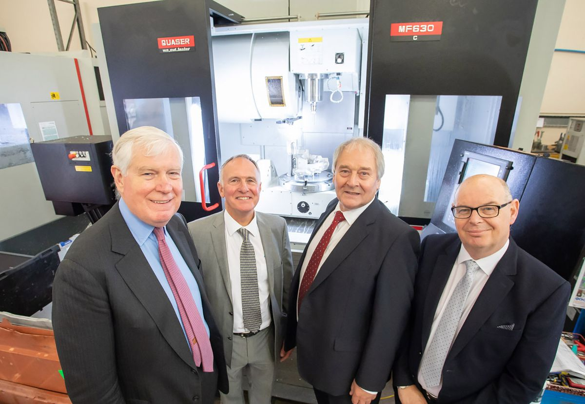 Alucast Machine Shop Tour Opening (PR): (l-r) Lord Carrington, Tony Sartorius (Alucast), Lord Whitby and John Swift (Alucast)