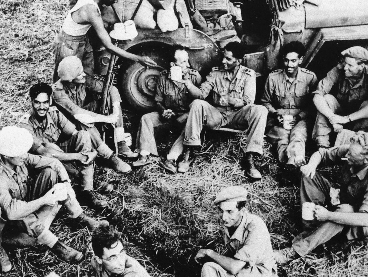 Officers of the 10 Baluch Regiment after the fall of Pegu, Burma, in 1945