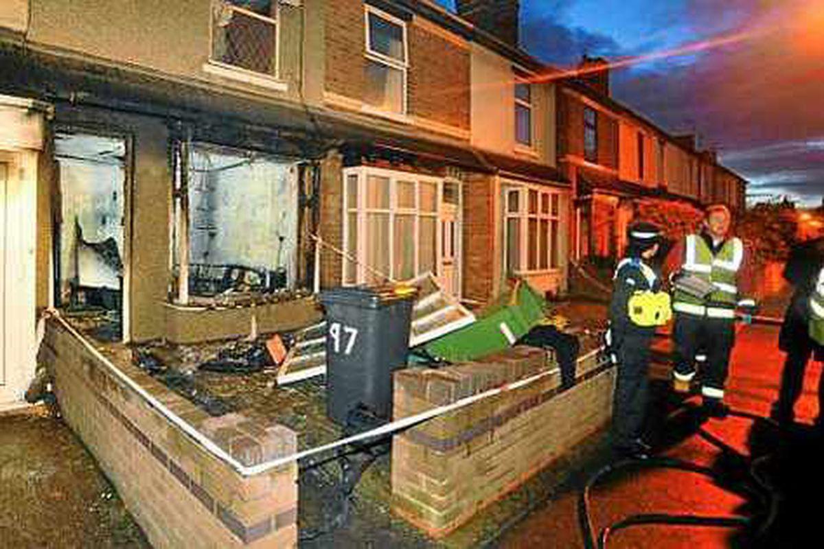 Man flees Wednesfield house blaze with leg on fire
