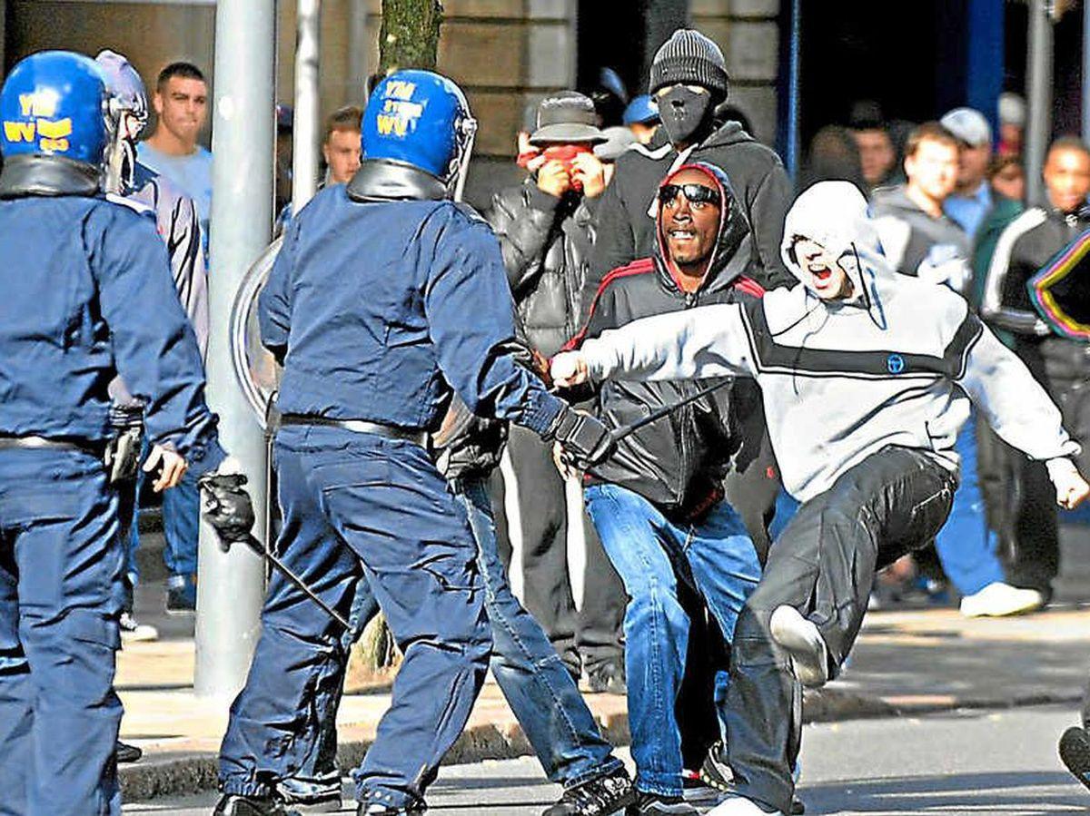 Rioters in Wolverhampton
